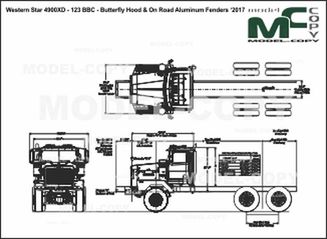 Western Star 4900XD - 123 BBC - Butterfly Hood & On Road Aluminum Fenders  '2017 - drawing