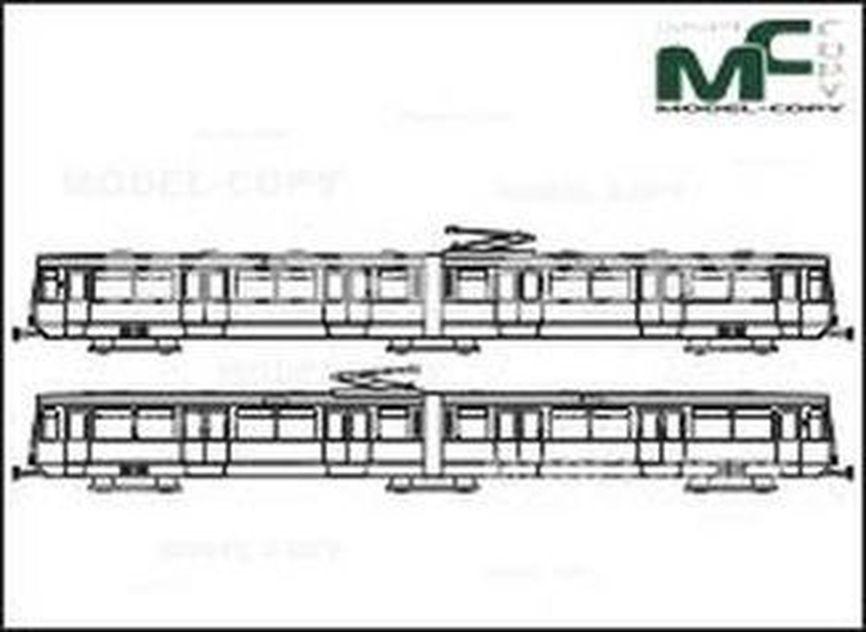 City railway Koeln, Series 2000 - Disegno 2D