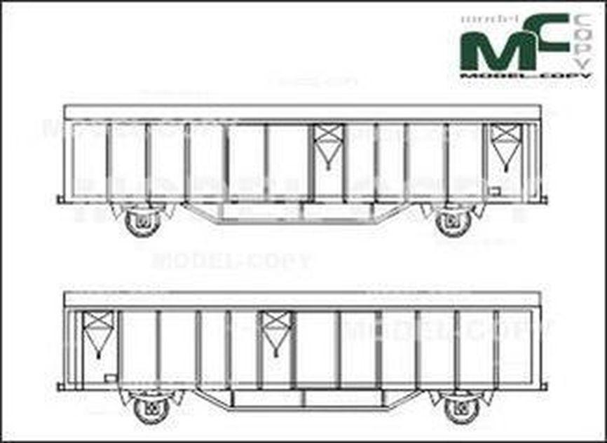 Cargo wagon covered - 2Δ σχέδιο