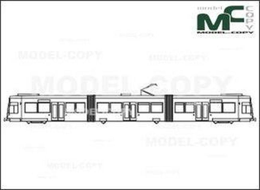 Duewag low-floor tram NF 6-D - Bản vẽ 2D