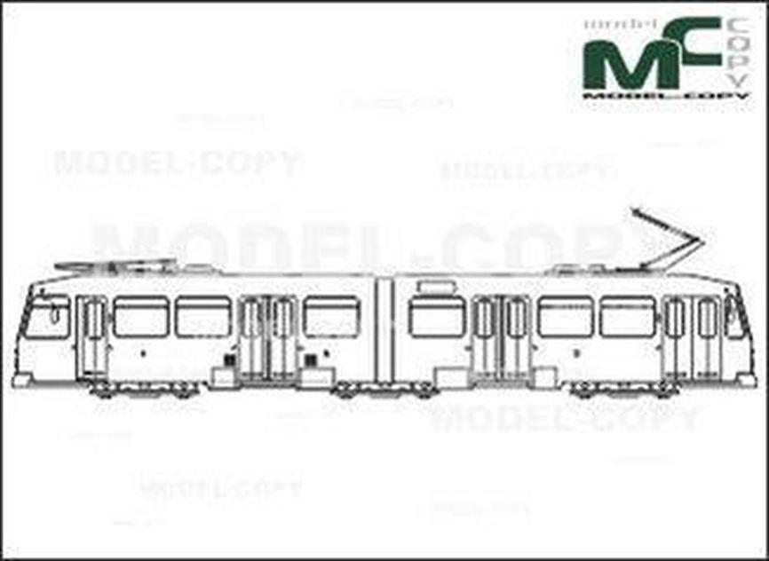Light rail, Bochum, M6S, Duewag/Siemens - drawing