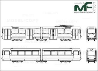 Light rail, Braunschweig, GroBraum-articulated multiple-unit trains, LHB - drawing