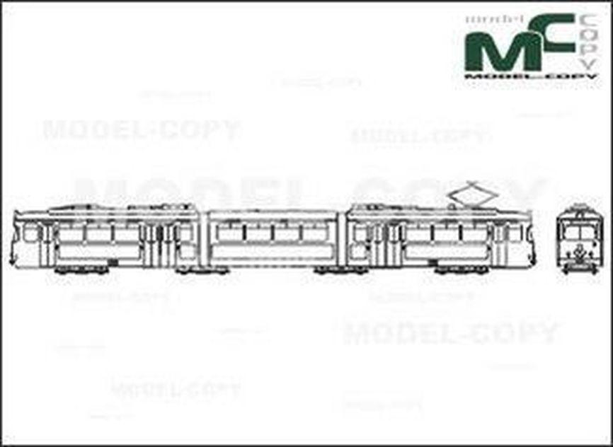 Tram, Frankfurt/Main, O, Duewag/Siemens - 2D drawing (blueprints)