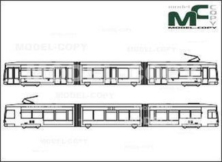 Tram, Kassel, 6NGTW, Bombardier Transportation - 2D drawing (blueprints)