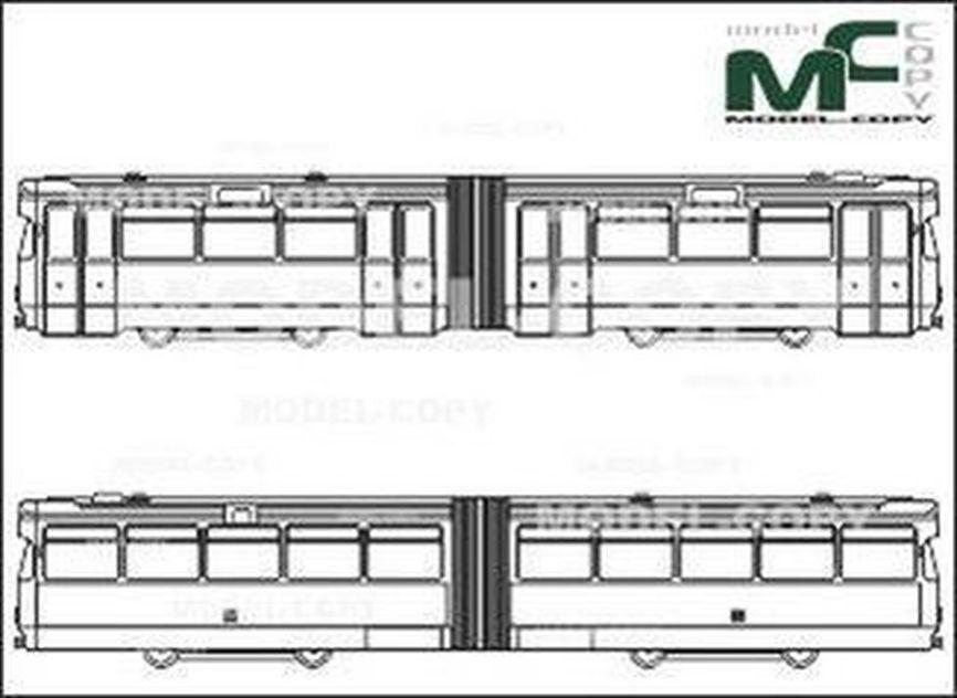 Light Rail Train, Sidecar, Bremen - 2D繪圖