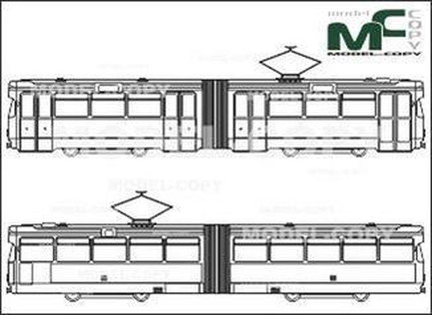 Light Rail Train, Railcar, Bremen - drawing
