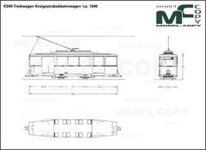 KSW-Treibwagen Kreigsstrabebbahnwagen 'ca. 1940 - drawing
