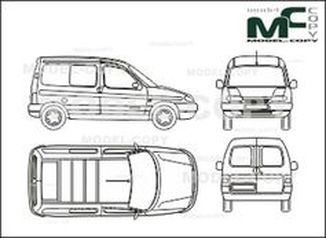 Citroen Berlingo, box,  1 window, rear double doors - drawing