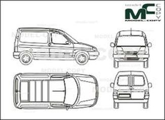 Citroen Berlingo, box,  rear double doors - drawing