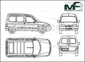 Citroen Berlingo, Сombi,  sliding door, rear double doors - drawing