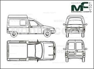 Citroen C 15 box,  rear double doors - drawing