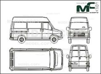 Citroen C 25 box, short, high roof, rear double doors - drawing