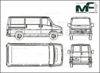 Citroen C 25 box, short, flat roof, rear double doors - drawing