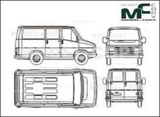 Citroen C 800 Bus/box, rear double doors - drawing