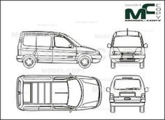 Citroen Berlingo box, sliding doore, tailgate - drawing