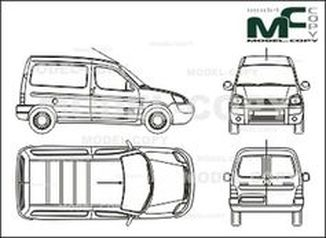 Citroen Berlingo box, without sliding door, Rear double doors (2002) - drawing