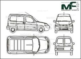 Citroen Berlingo box, 1 sliding door right, Rear double doors (2002) - drawing