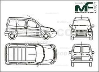 Citroen Berlingo box, , part partially glazed, 1 sliding door right, Rear double doors (2002) - drawing