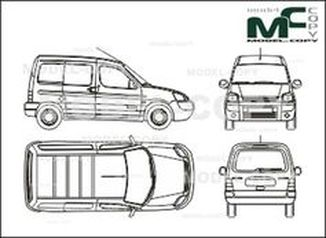 Citroen Berlingo box, 1 sliding door right, tailgate (2002) - drawing