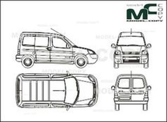 Citroen Berlingo box, 2 sliding doors, Rear double doors (2002) - drawing
