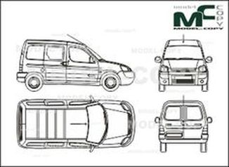 Citroen Berlingo box, part partially glazed, 2 sliding doors, Rear double doors (2002) - drawing