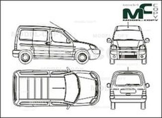 Citroen Berlingo box, 2 sliding doors, tailgate (2002) - drawing