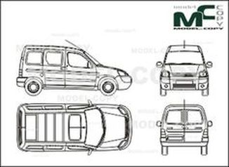 Citroen Berlingo Сombi, 1 sliding door right, Rear double doors (2002) - drawing