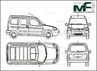 Citroen Berlingo Сombi, 1 sliding door right, tailgate (2002) - drawing