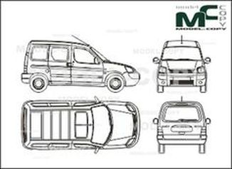 Citroen Berlingo Сombi, 2 sliding doors, Rear double doors (2002) - drawing