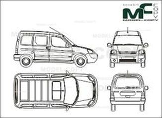 Citroen Berlingo Сombi, 2 sliding doors, tailgate (2002) - drawing