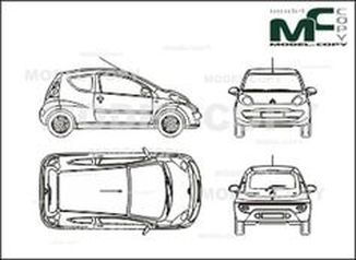 Citroen C1 (2005), in 3 door execution - drawing
