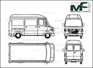 Mercedes-Benz 208 D / 210 D / 210 box, high roof, short - drawing