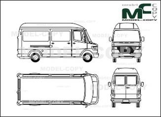 Mercedes-Benz 208 D / 210 D / 210 box, high roof, long - drawing