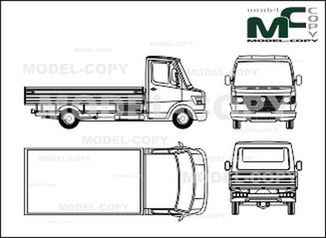 Mercedes-Benz 208 D / 210 D / 210 flatbed, flatbed trailers, long - drawing