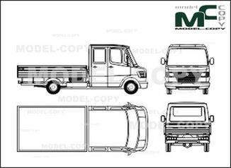 Mercedes-Benz 208 D / 210 D / 210 flatbed, double cab, flatbed trailers, long - drawing