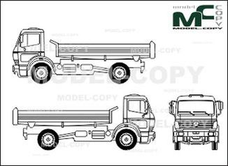 Mercedes-Benz 1838, heavy class, two-axle trucks, tippers - drawing