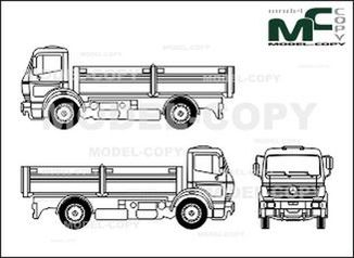 Mercedes-Benz 1838, heavy class, two-axle trucks, flatbed - drawing