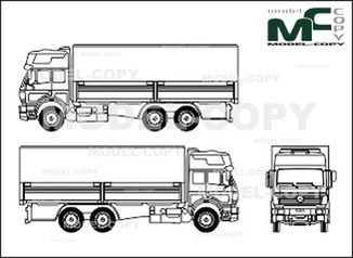 Mercedes-Benz 1838, heavy class, 3-axle, flatbed, construction - drawing