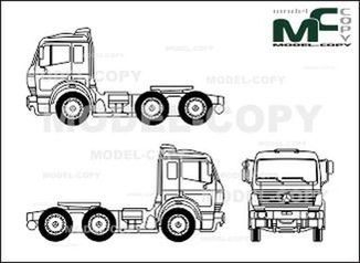 Mercedes-Benz 1838, heavy class, 3-axle, tractor - drawing
