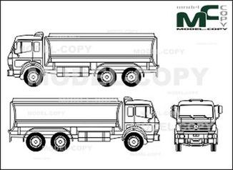 Mercedes-Benz 1838, heavy class, 3-axle, tank truck - drawing