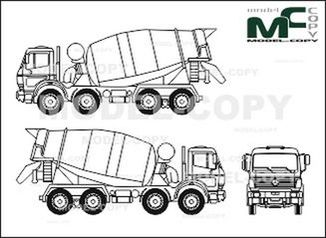 Mercedes-Benz 1838, heavy class, 4-axle, concrete mixer - drawing