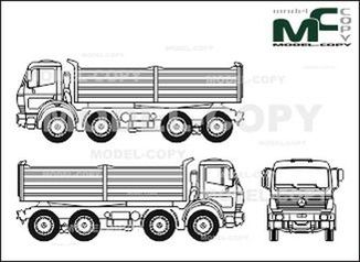 Mercedes-Benz 1838, heavy class, 4-axle, flatbed - drawing