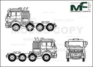 Mercedes-Benz 1838, heavy class, 4-axle, tractor - drawing