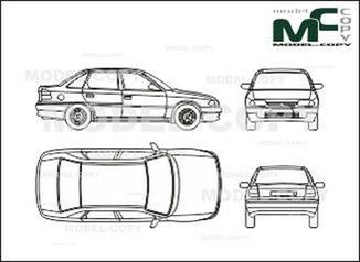 Opel Astra A 4-doors - drawing