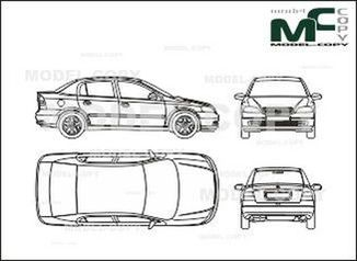 Opel Astra B Limousine with Saloon, 4-doors - drawing