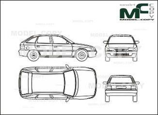 Opel Astra A 5-doors - drawing