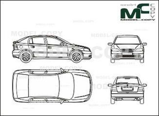 Opel Astra B Limousine with tailgate, 5-doors - drawing