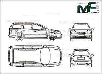 Opel Astra B Caravan, Сombi 5-doors - drawing