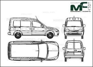 Opel Combo box car (Comfort), 1 sliding door, without rear window (2001) - drawing
